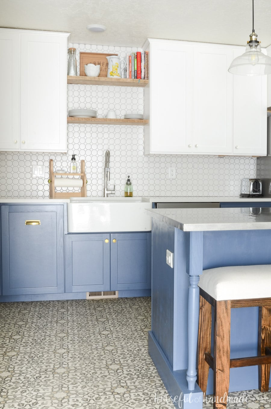 kitchen sink farmhouse farm style table what to know before buying a houseful of handmade beautiful with blue white cabinets and large