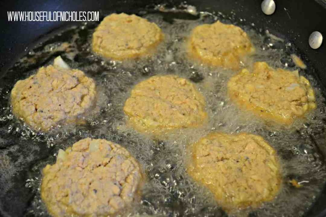 Salmon Croquettes frying