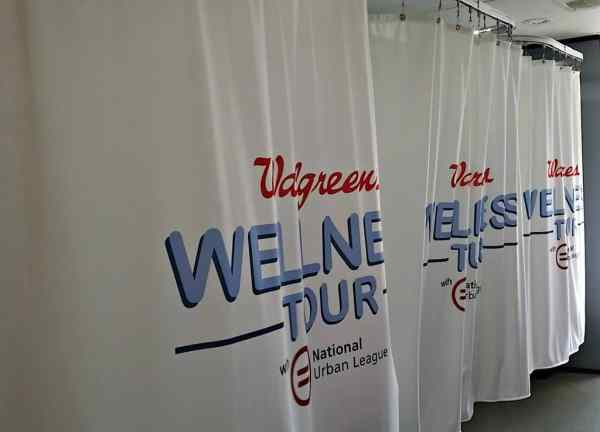 Privacy booths inside of the Walgreens Welness Tour bus.