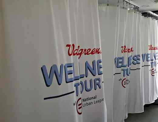 Privacy booths inside of the Walgreens Wellness Tour bus.