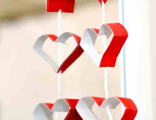 Toilet Tissue Roll Heart Garland