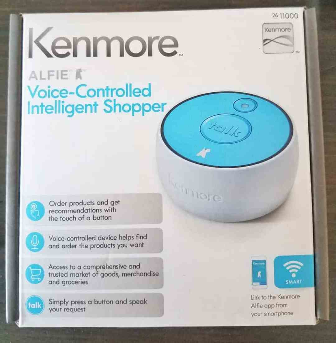 kenmore alfie. the kenmore alfie does not take long to set up. just a plug in charge for bit, and then connecting device wi-fi, downloading app ios f