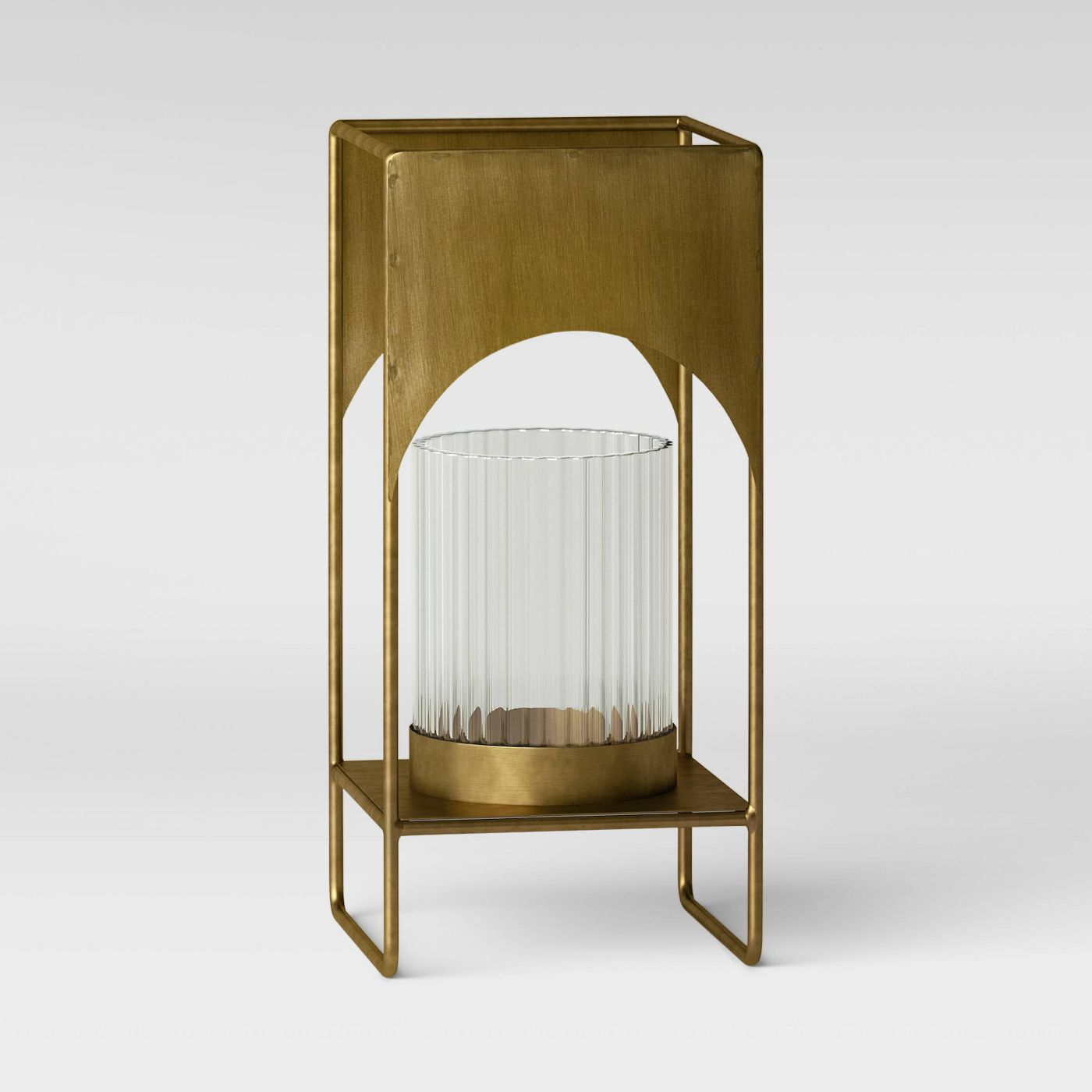 small modern brass outdoor candle holder