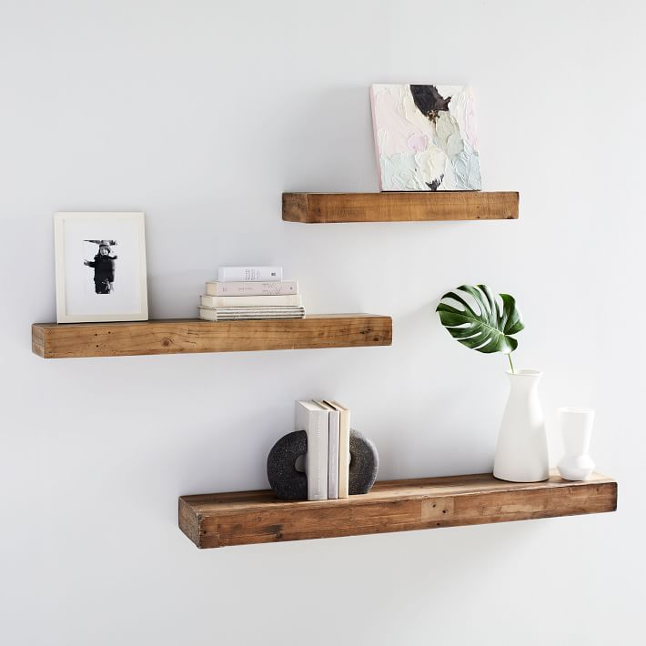reclaimed wood open shelves