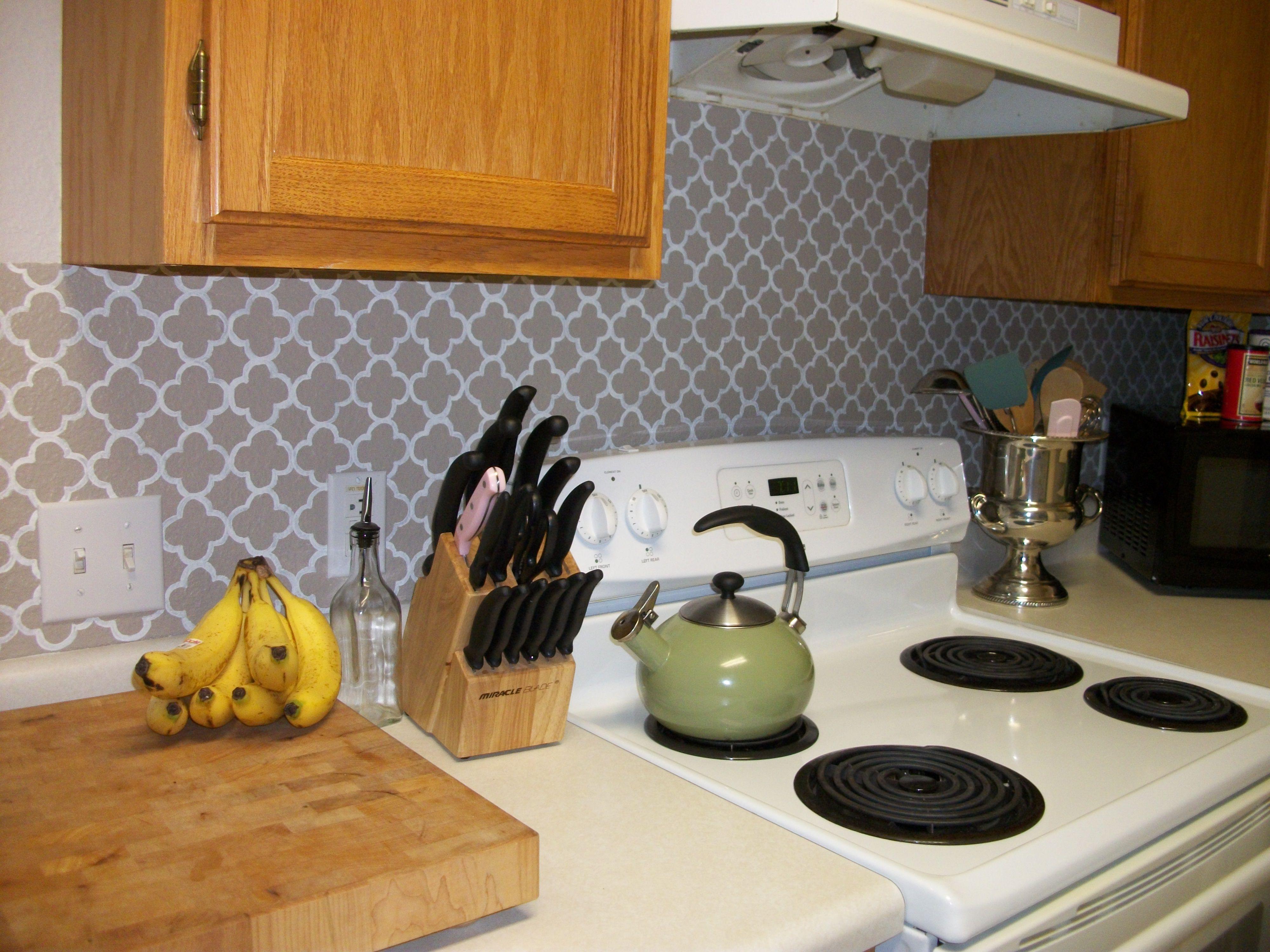 vinyl wallpaper kitchen backsplash black hutch pinterest housegirlhaley