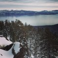 The view when we snowmobiled up the mountain.