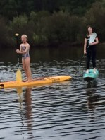 The youngest LOVED paddle boarding.