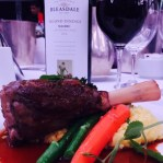 Main was Milly Hill grass fed braised lamb shank, seasonal greens, saffron risotto and gremolata with The John Swann Perpetual Trophy for Best Other Red Blend winner 2015 Bleasdale Vineyards GSM.