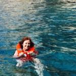 Mum takes a dip.