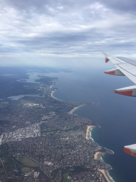 Flying home over the Northern Beaches.