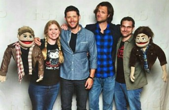 I think the puppets are meant to be the guys in the middle, who are the stars of Supernatural.