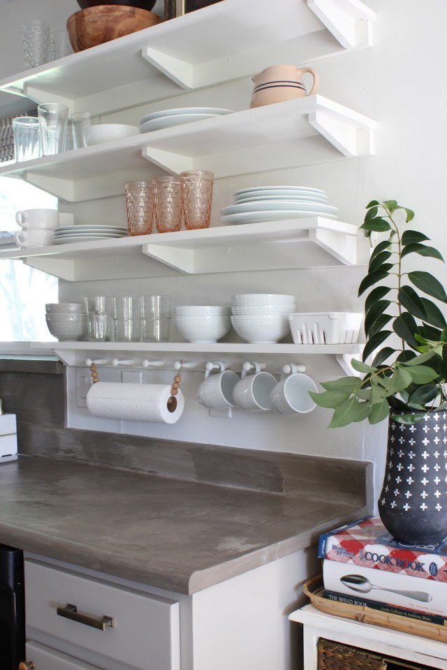 One room challenge budget kitchen makeover shaker style open shelving on one side of a window in a galley kitchen | House Homemade
