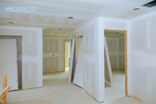 Home renovation of new construction of Drywall Plasterboard Interior Room