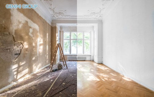 apartment renovation - empty room before and after refurbishment or restoration -
