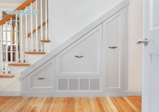 Gliding under stair pullout cabinets for kitchen small appliance storage