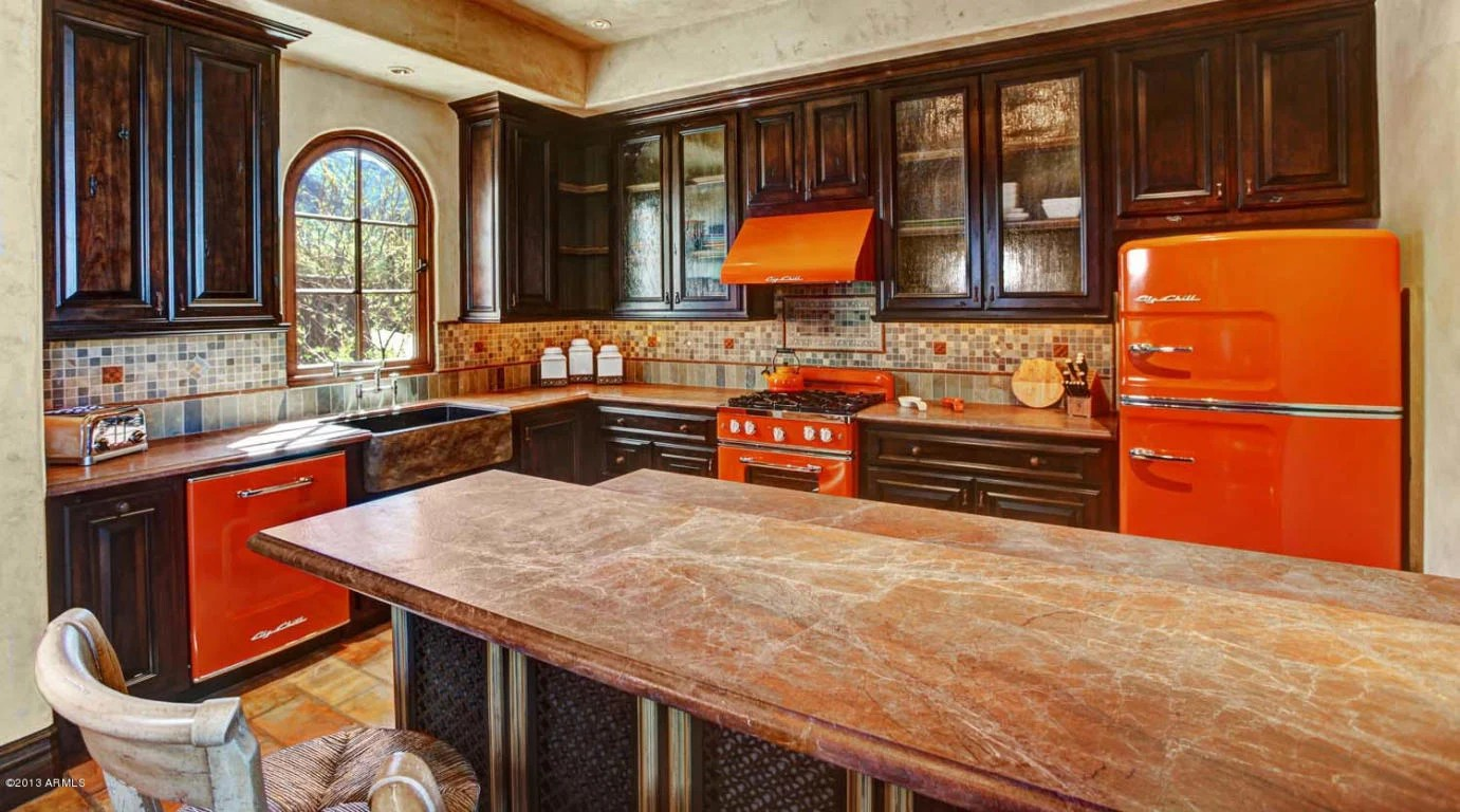 kitchen island with built in seating bakers racks for kitchens million dollar home scottsdale arizona is $24,500,000