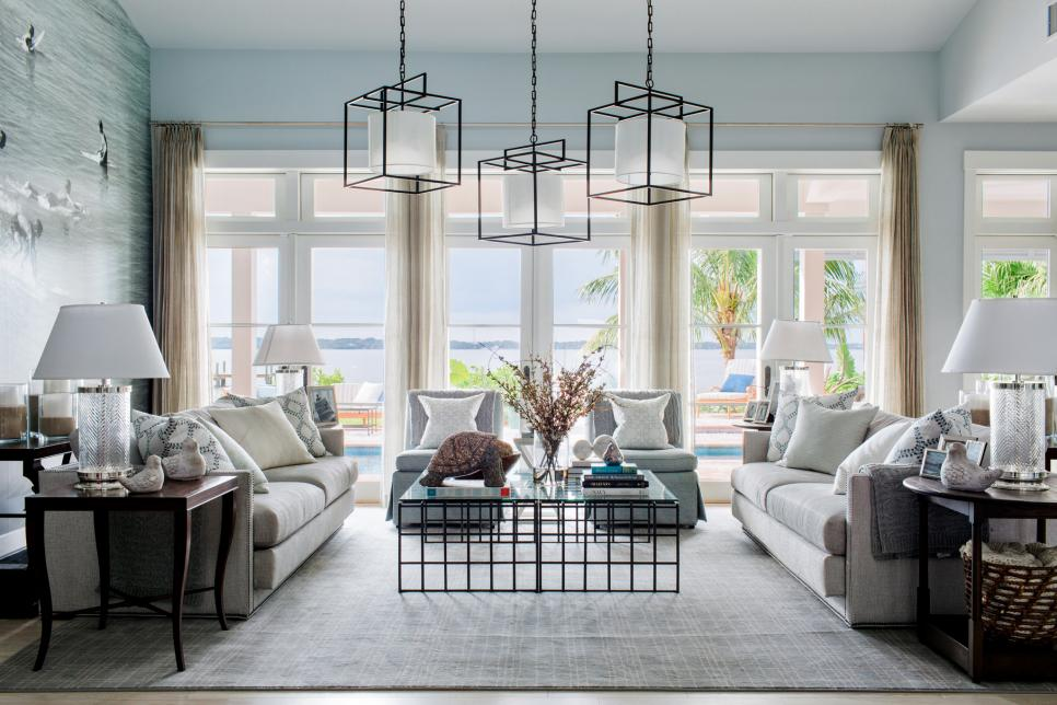 hgtv modern living room beautiful art for lively coastal beach house is dream home 2016 sofa lamps and windows in the of creates