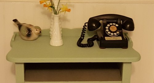 small resolution of telephone table with old phone is an antique table now painted in beautiful blue