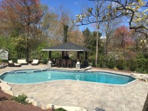 Swimming Pool With Paver Deck And Gazebo - Garden
