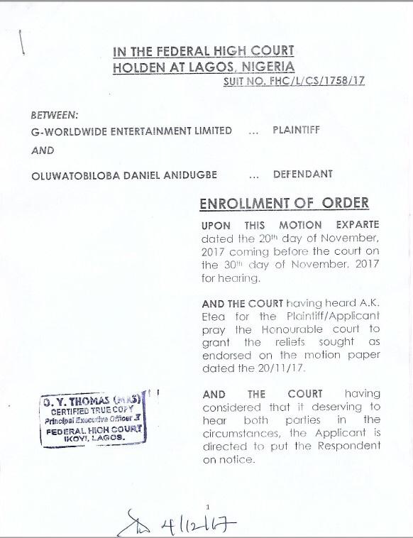 G-Worldwide Responds to Misleading Information from Kiss Daniel's Lawyers