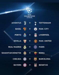 UEFA Champions League Round Of 16 Draws; Chelsea Face Barcelona