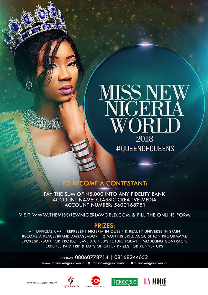 Miss New Nigeria World (MNNW) 2018 Pageant (How To Apply)
