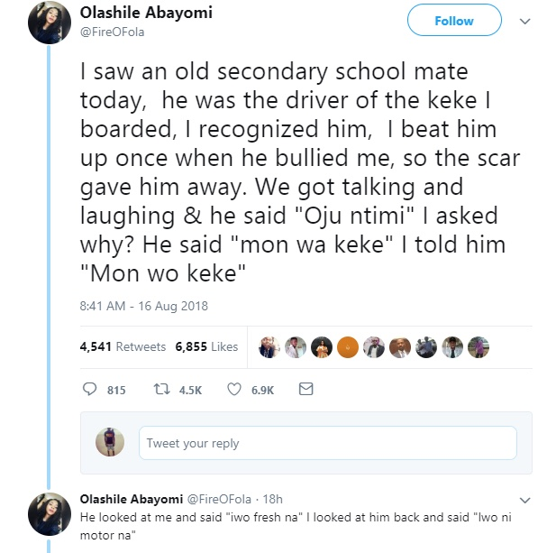 Lady shares experience with her school mate who is