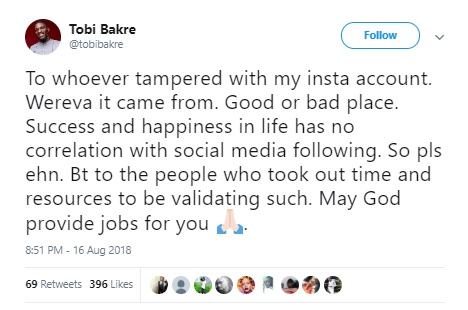 Tobi Bakre accused of buying fake Instagram followers