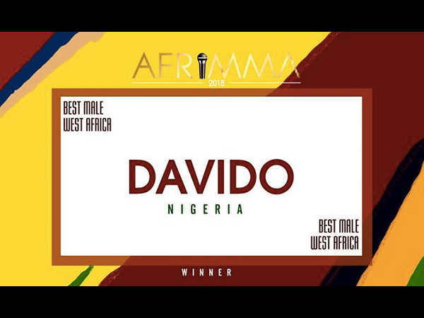 Davido Wins AFRIMMA's Best Male West Africa For The Third Time