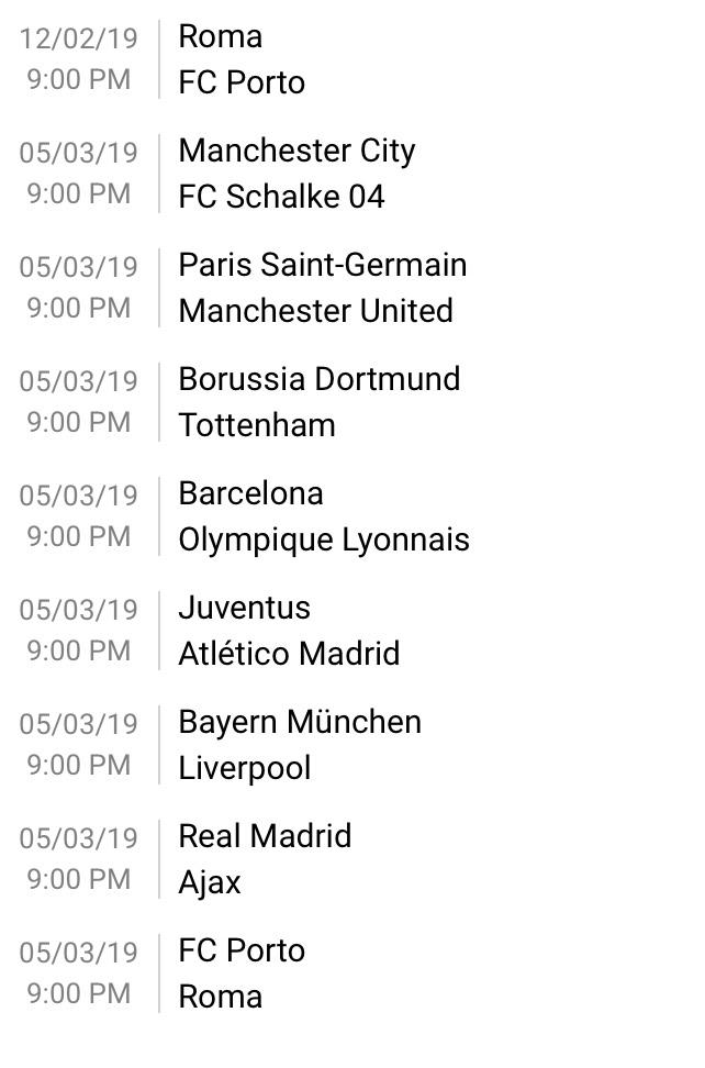 Champions League last 16 draw