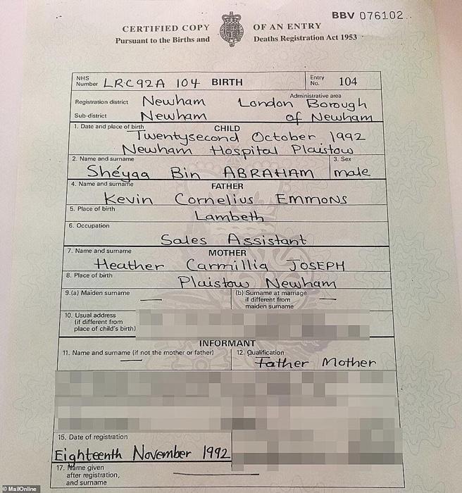 21 Savage Birth Certificate