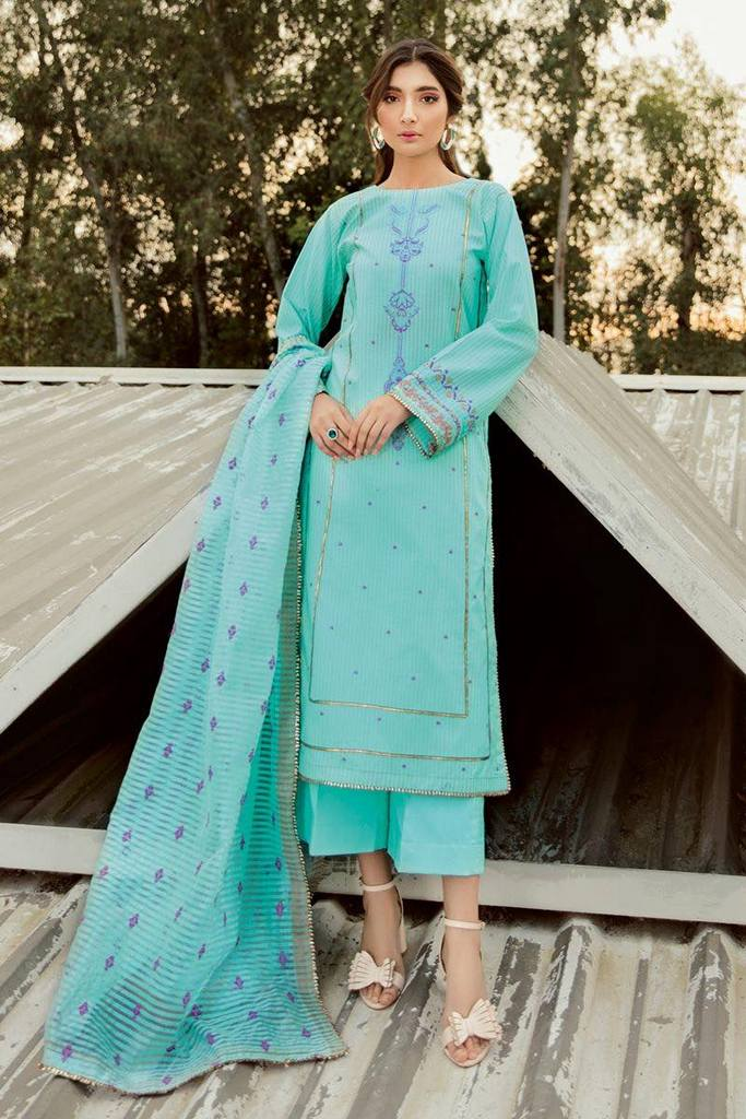 GUL AHMED | 3 PC Embroidered Jacquard Suit With Organza Dupatta | MJ-44