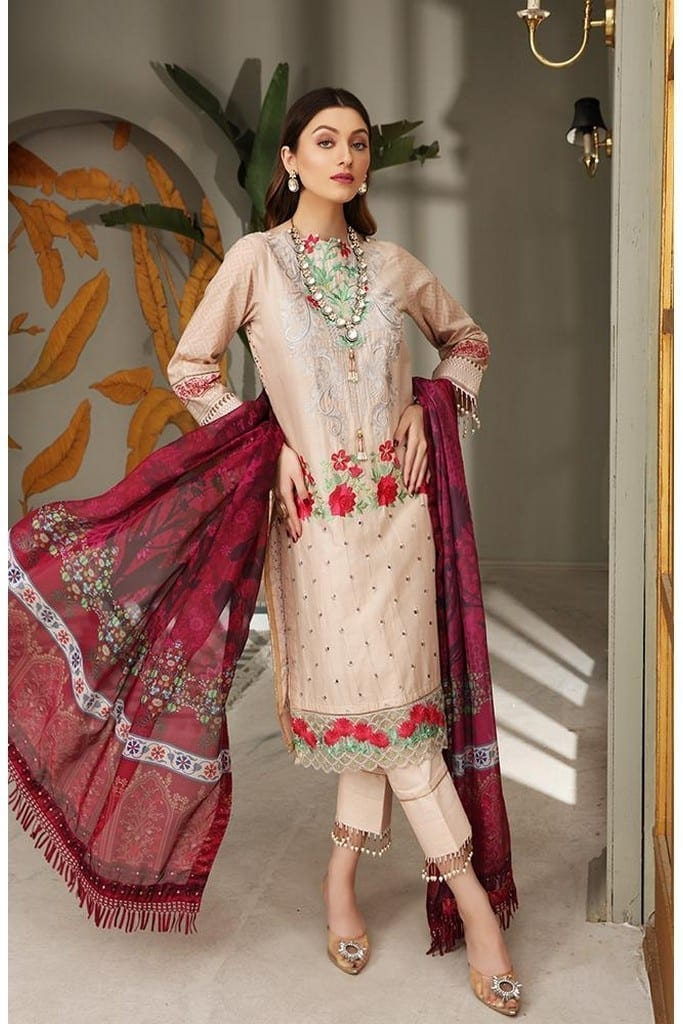 "ALZOHAIB | AZ 'FESTIVE HUES' PREMIUM COLLECTION'2021 | FHPC-21-01 ""Peach Dust & Red"""