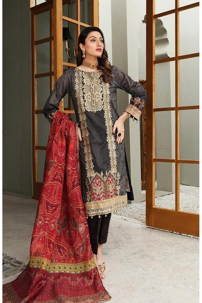 "ALZOHAIB | AZ 'FESTIVE HUES' PREMIUM COLLECTION'2021 | FHPC'21-09 ""Grey & Red"""