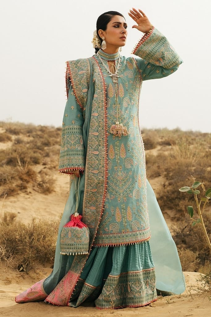 HUSSAIN REHAR | ROOHI DE NAAL Collection | Saloni (Ice Blue)