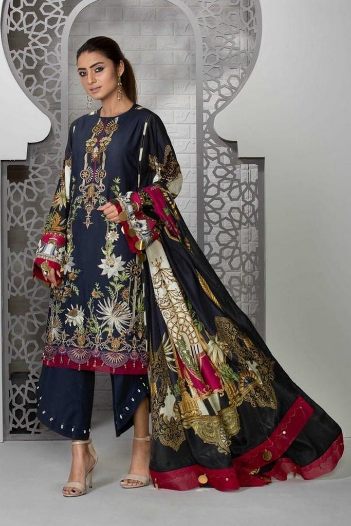 SAPPHIRE | EMBROIDERED LAWN | MIDNIGHT BLOOM