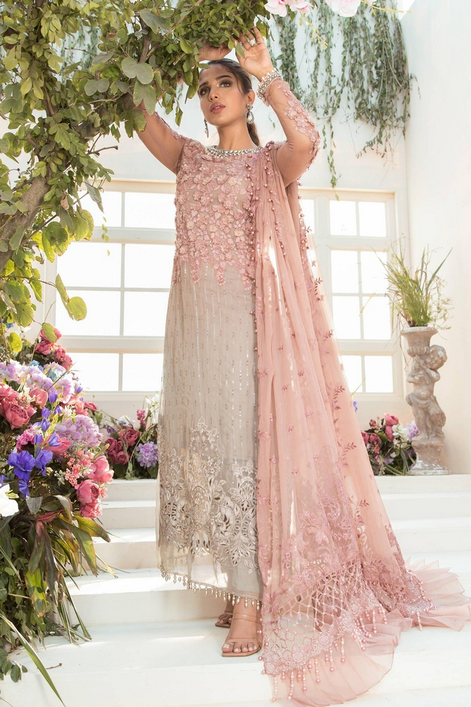 MARIA B | EMBROIDERED EID FESTIVE | Coffee and Ash Pink (BD-2101)