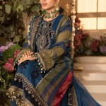 MARIA B | MBROIDERED EID FESTIVE | Blue Olive green with deep Coral1