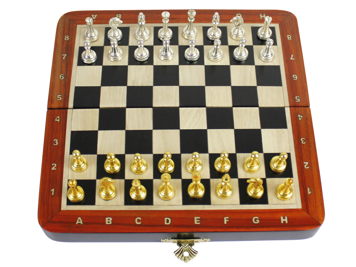 """Metal Wood Chess Set Magnetic Folding 7-1/2"""" With Inlaid"""