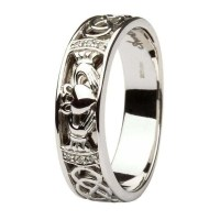 Claddagh Celtic Knots Pave Diamond Set Gents White Gold