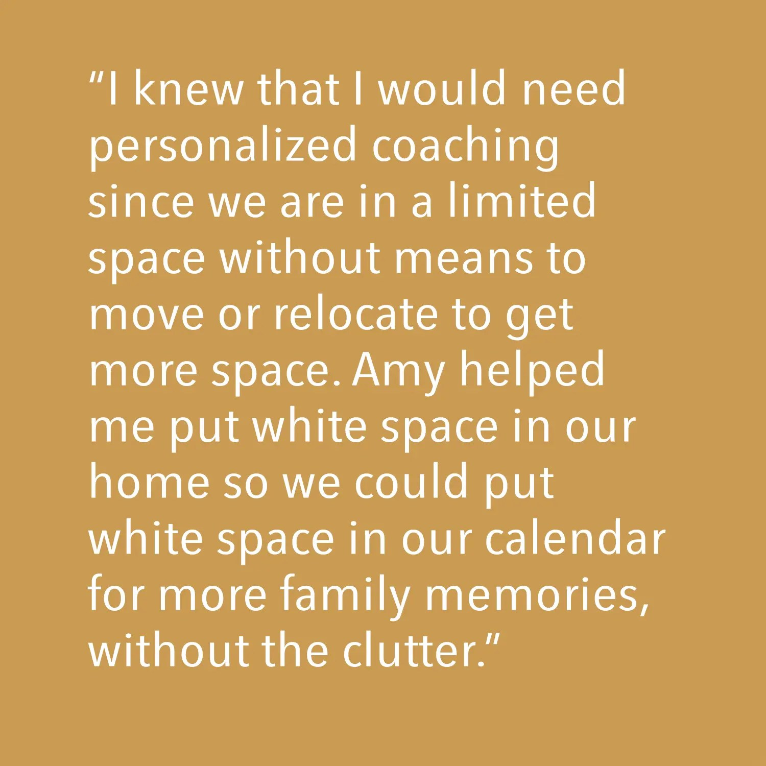 Testimonial - I knew that we would need personalized coaching