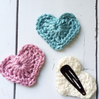 Spring Crochet Heart Hair Clips