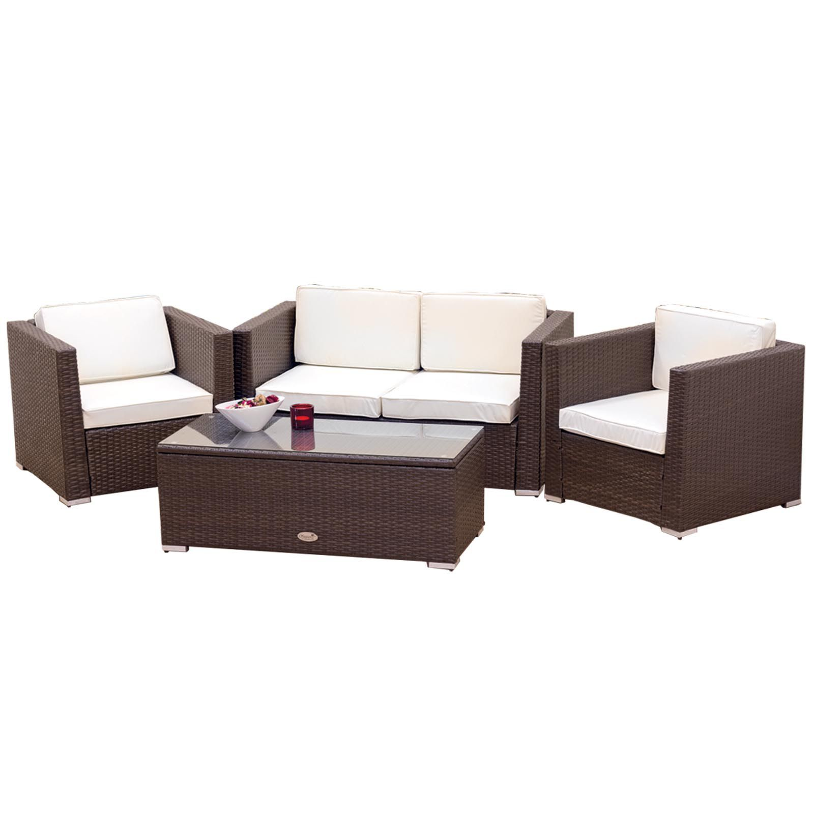 oxford 4 piece brown rattan effect sofa set j shaped oseasons furniture house of fraser