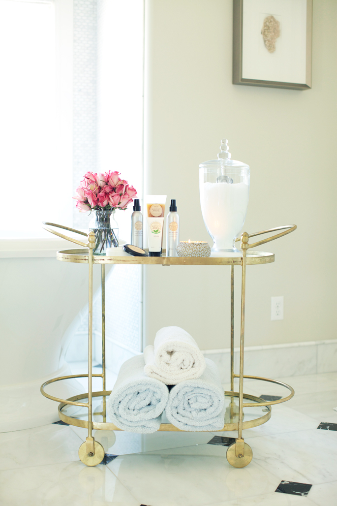 How To Style A Bathroom Bar Cart  the House of Grace
