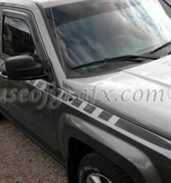 body strobe cuda style stripe graphics decals fits jeep patriot [ 1200 x 842 Pixel ]