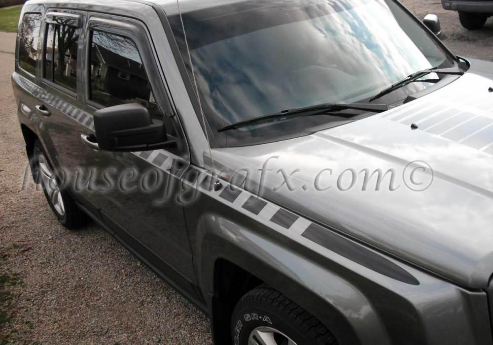 medium resolution of body strobe cuda style stripe graphics decals fits jeep patriot