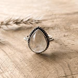 Rutiel Kwarts Druppel Ring 925 sterling zilver klein voor-aanzicht