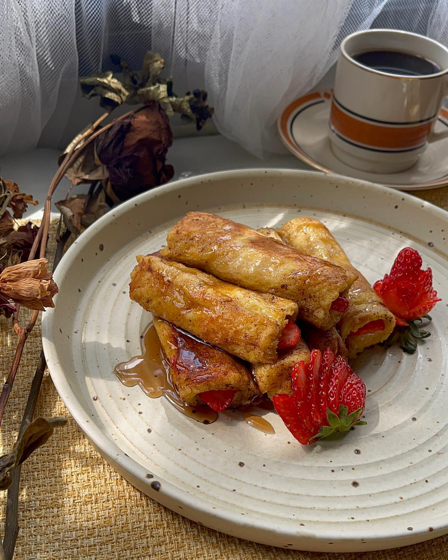 Strawberry stuffed french toast with cream cheese