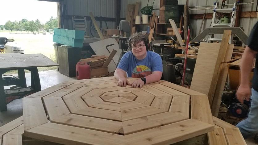 Octagonal cedar picnic table