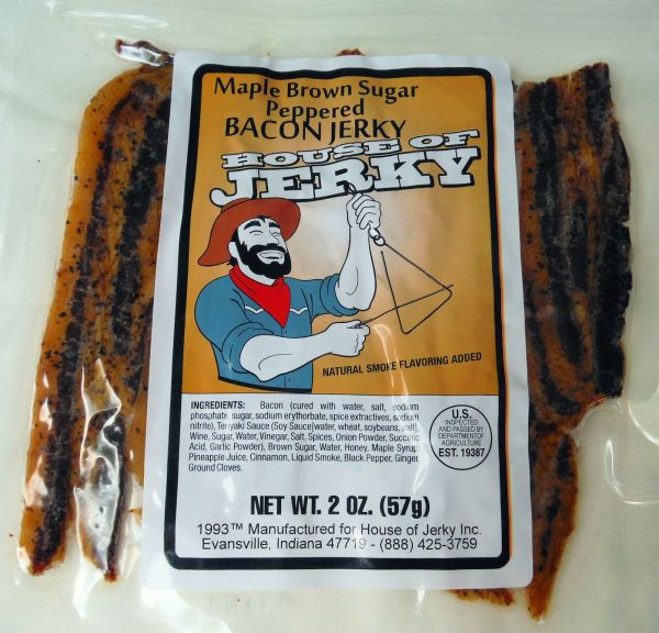 Bacon Jerky Maple Brown Sugar Peppered House of Jerky